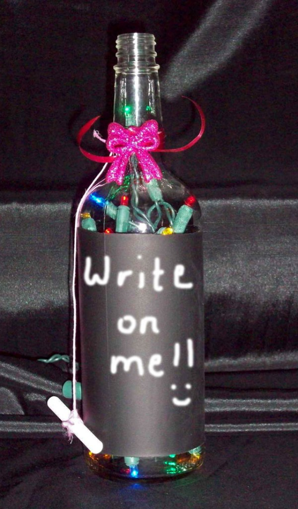 Chalk Board Bottle Lamp For Valentine's Day