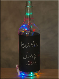 Chalk Board Bottle Lamp with LED lights