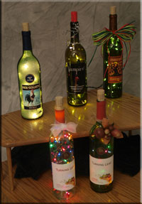 Some of the Lighted Bottles given to Fundraisers and Charity events