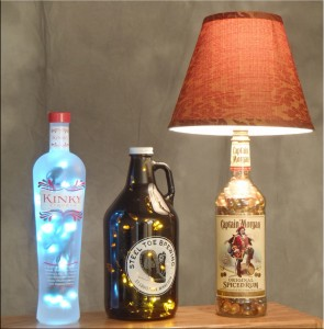 Kinky, Beer and Captain Morgan bottle lamps
