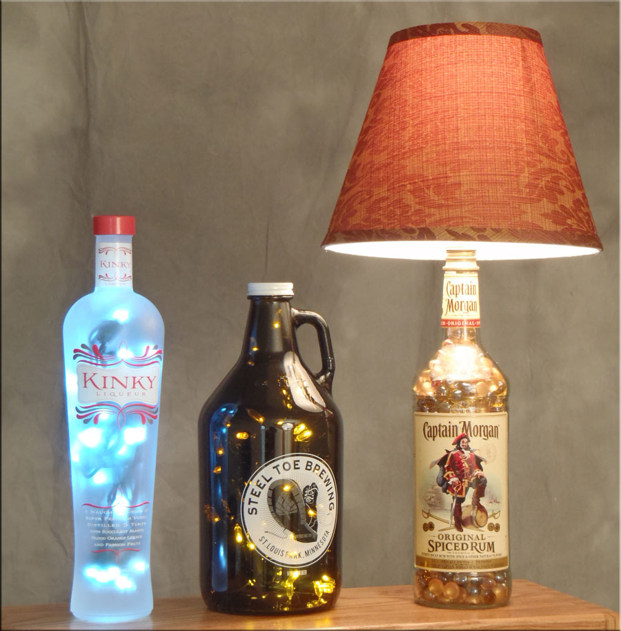 glass bottle lighting upcycled glass kinky beer and captain morgan bottle lamps bottle lamp diy crafts videos inspirations