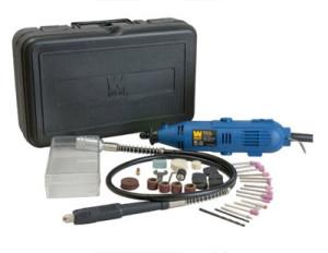 Rotary tool set for drilling bottles