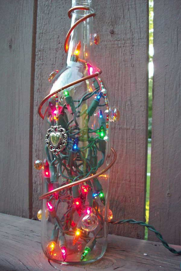 lighted bottle with decorations