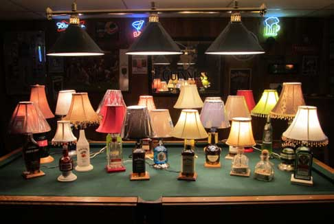 Liquid filled liquor bottle lamps by Steve