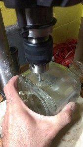 Drilling holes in a Patron bottle