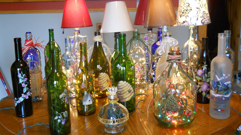 Lighted bottles and bottle lamps