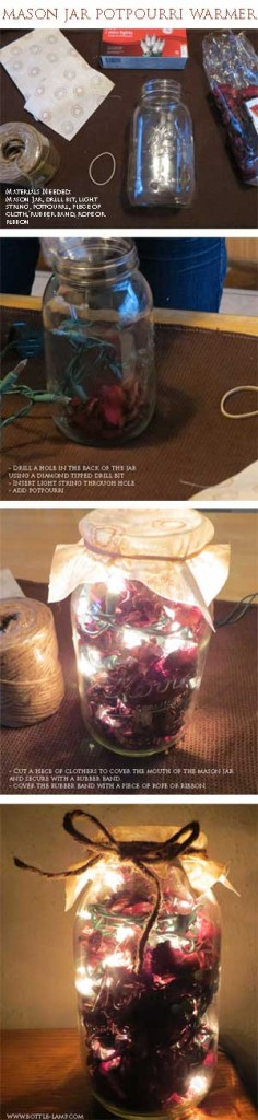 Instructions for a hand made Mason Jar Potpourri Warmer