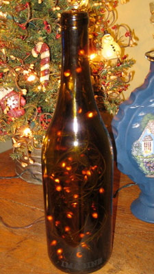 wine bottle with led lights