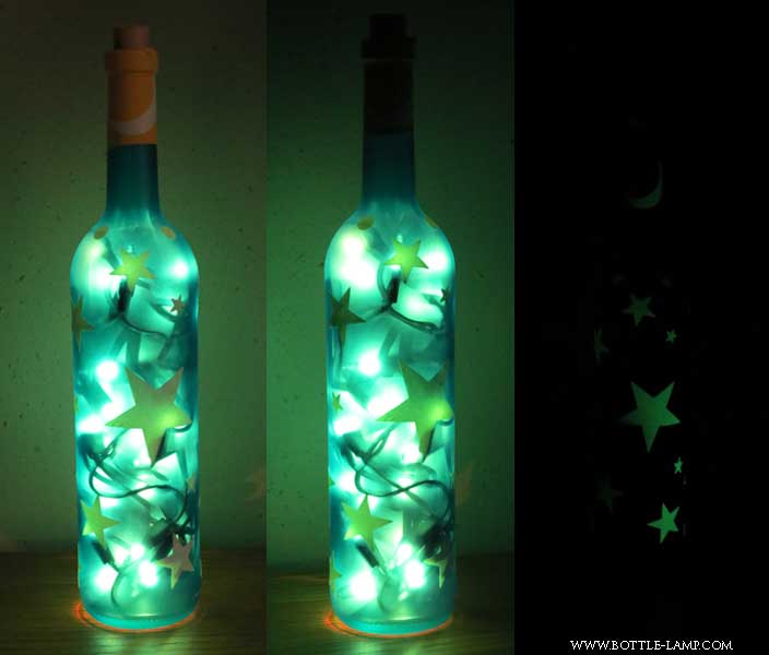 Bottle with glow in the dark stickers