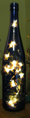 lighted blue bottle