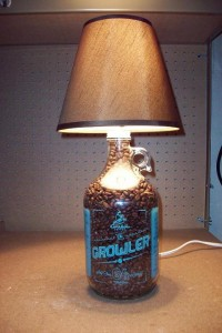 Caribou lamp with coffee bean filler