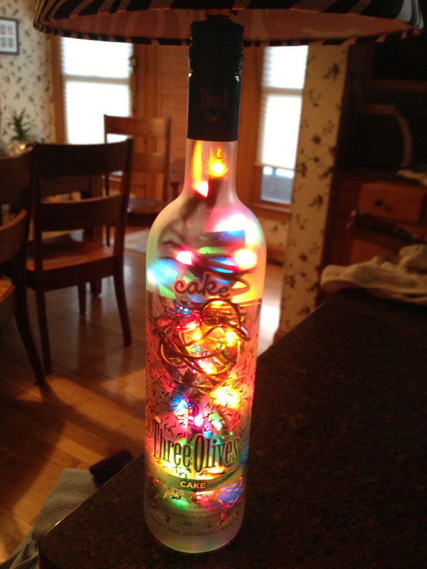 Recycled bottle turned into a lamp