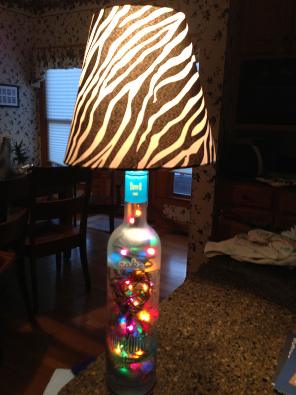 Bottle Lamp with Zebra lampshade