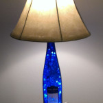Blue wine bottle lamp