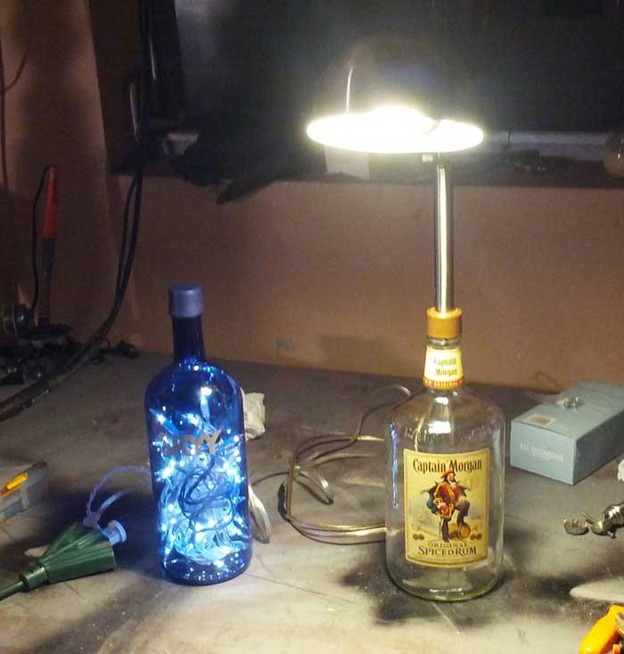 Lighted Sky Vodka Bottle And Captain Morgan Desk Lamp