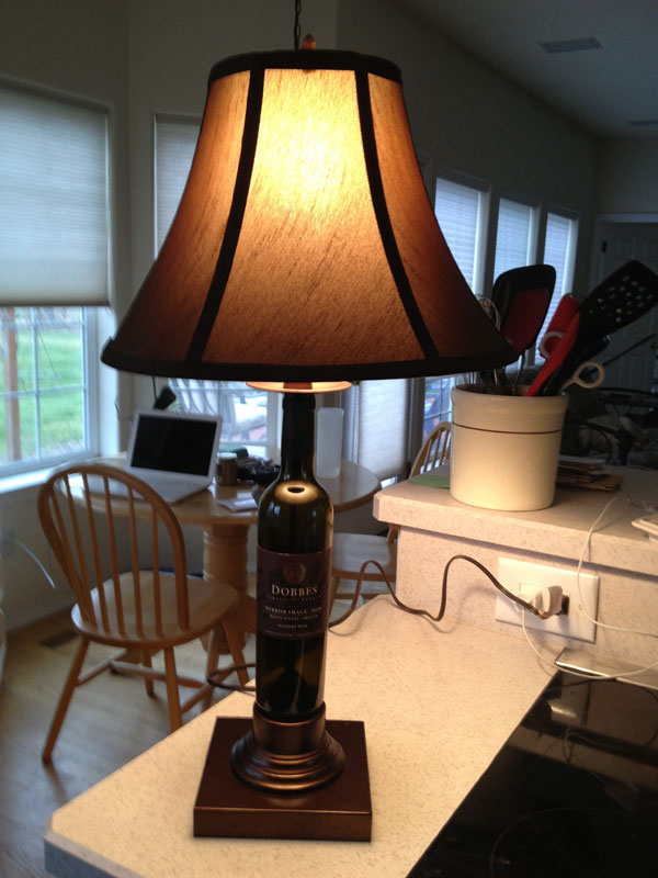 wine bottle lamp with base