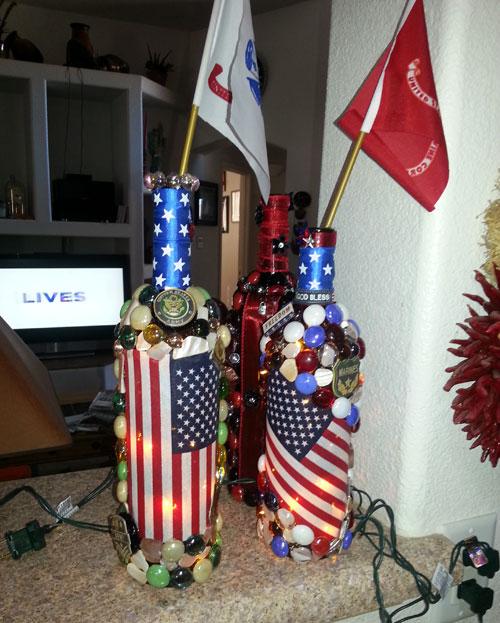Military themed lighted bottle