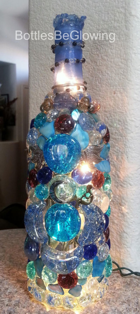 Beautiful Blue and Red Lighted Bottles