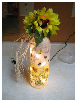 lighted bottle vase