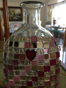 DIY Bottle with glass mosaic