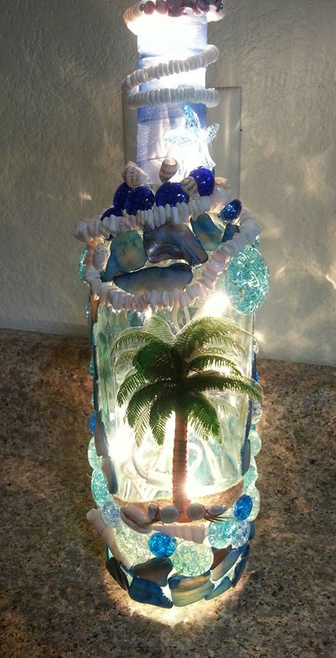 Beach themed lighted Bottle