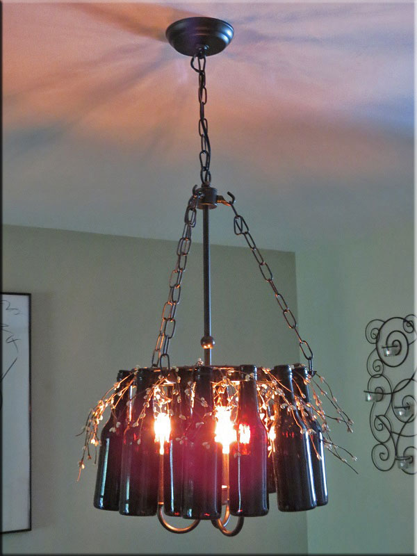 Bottle chandelier how to make a bottle lamp for How to make a bottle chandelier