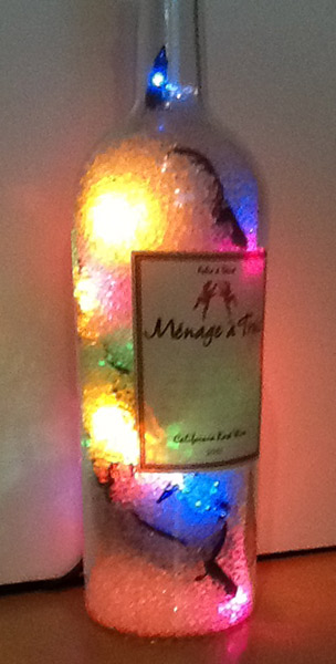 Lighted Wine Bottle by Ruth