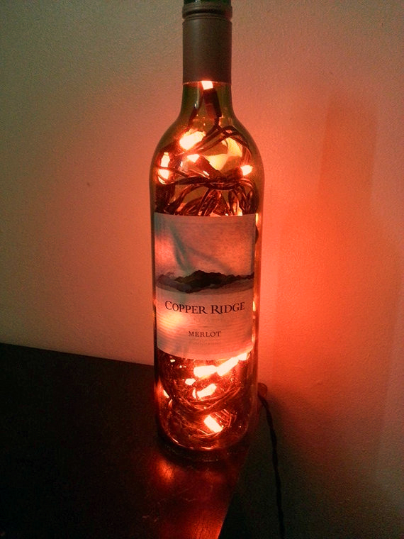 Copper Ridge Wine Bottle Light By Rikel