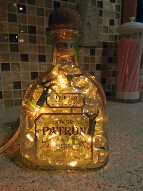 Silver Patron Bottle with Lights