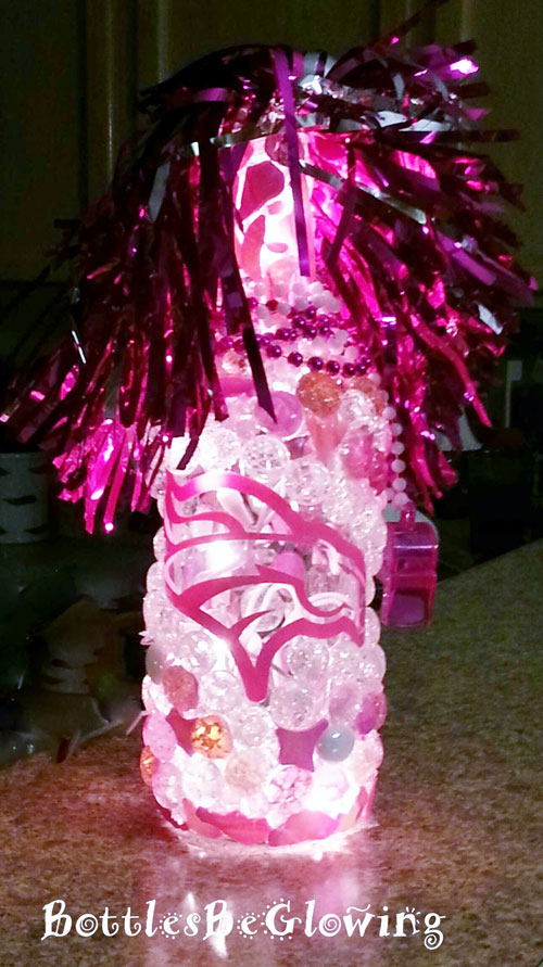 Pink Broncos Lighted Bottle