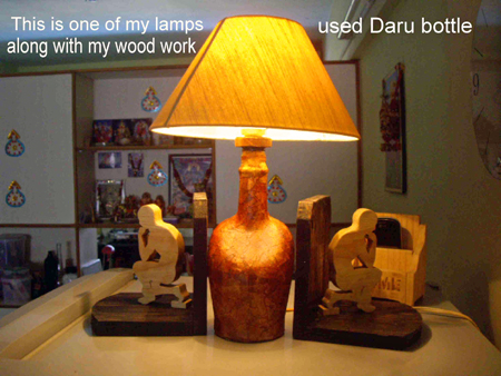Bottle Lamp and bookends by Mahendra