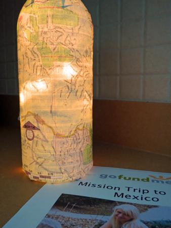 Mapped Bottle Lamp For Fundraiser