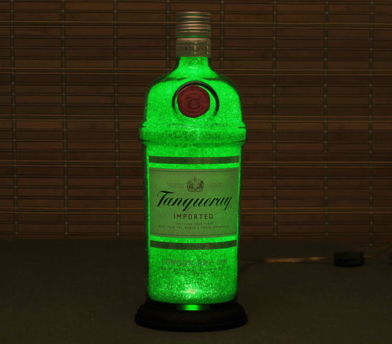 Tanqueray London Gin Bottle Lamp Bar Light LED nightlight bar mancave kitchen decor accent lamp