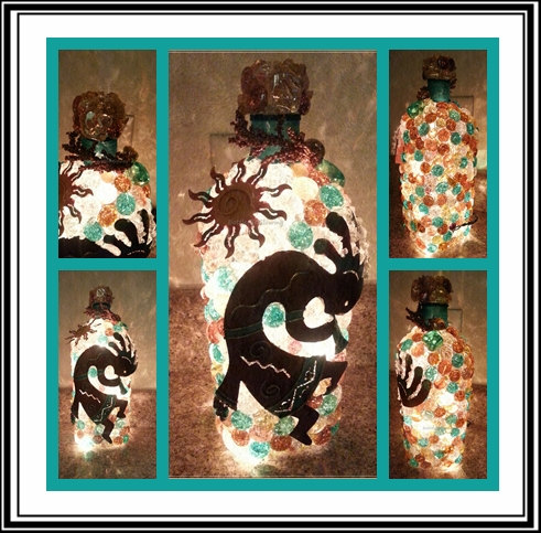 Kokopelli Dancing under the Sun Bottle Light