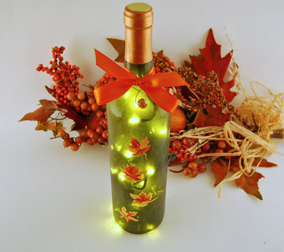 Lighted wine bottle - four hand painted orange and yellow autumn leaves