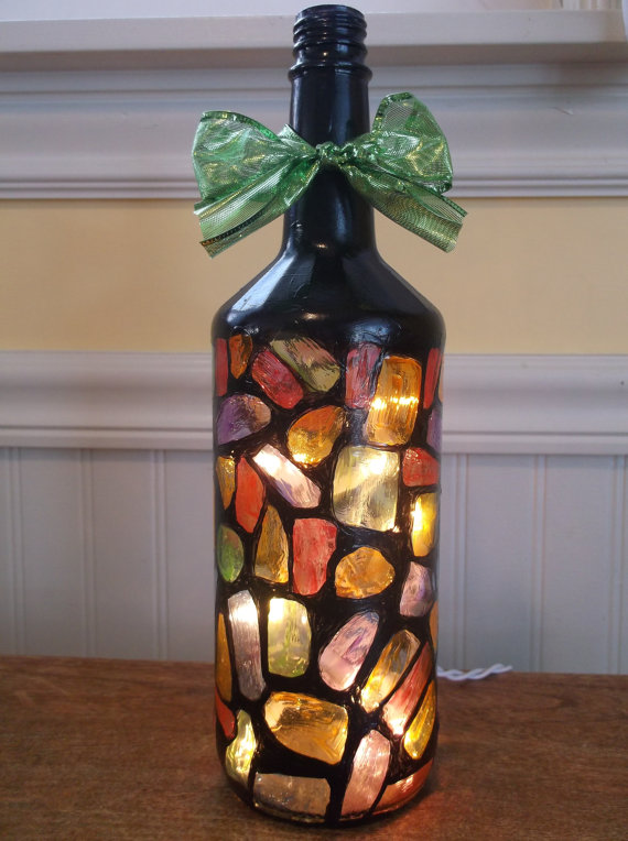 Stained Glass Wine Bottle Lamp
