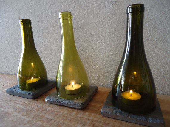 Recycled Bottle Tea Light Candle Holders