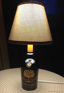 Lamp made from a Gran Gala Liquor bottle