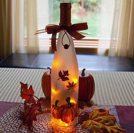 lighted bottle for fall