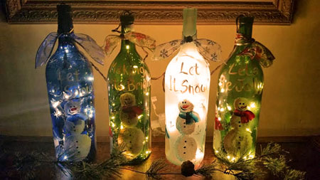 christmas lighted wine bottles - Christmas Bottle Decorations