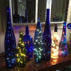Unique bottles with lights.