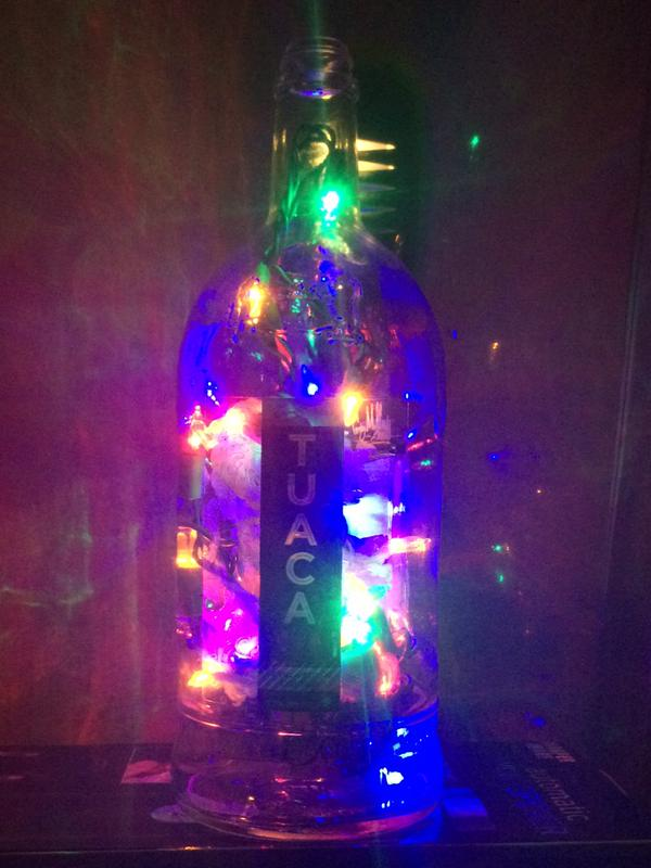 lighted liqueur bottle