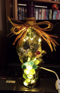 decorated wine bottle lamp