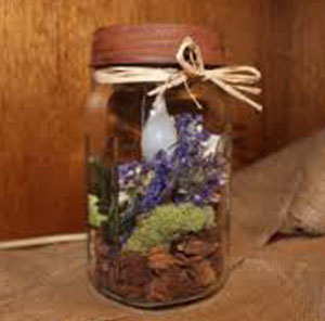 Mason Jar with Light and Lavender