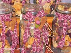Pink Ribbons and Fruit in mason jar