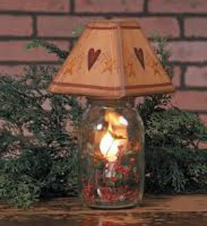 Mason Jar with Electric Candle Lamp