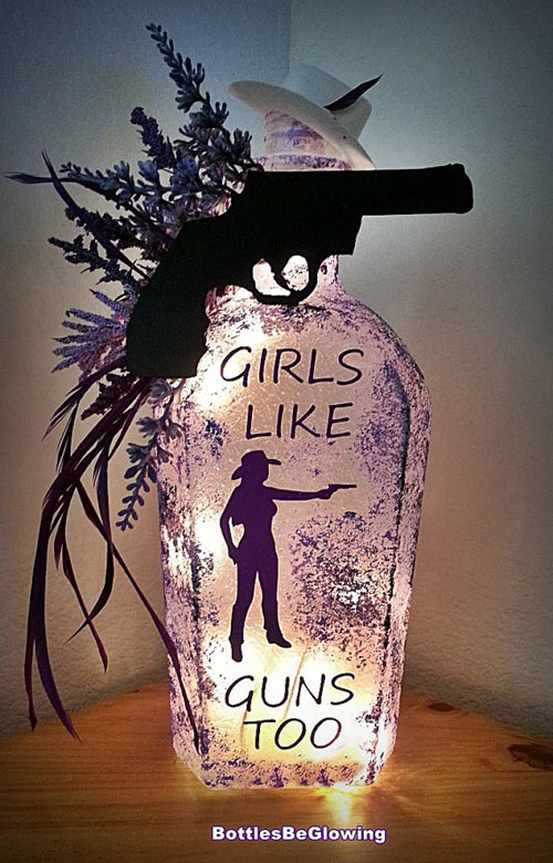 Girls Like Guns Bottle Lamp