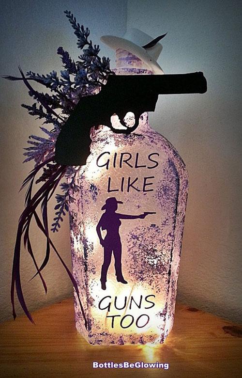 Girls Like Guns Bottle Lamp