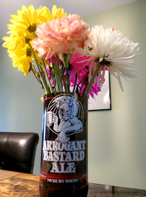 Recycled beer bottle flower vase