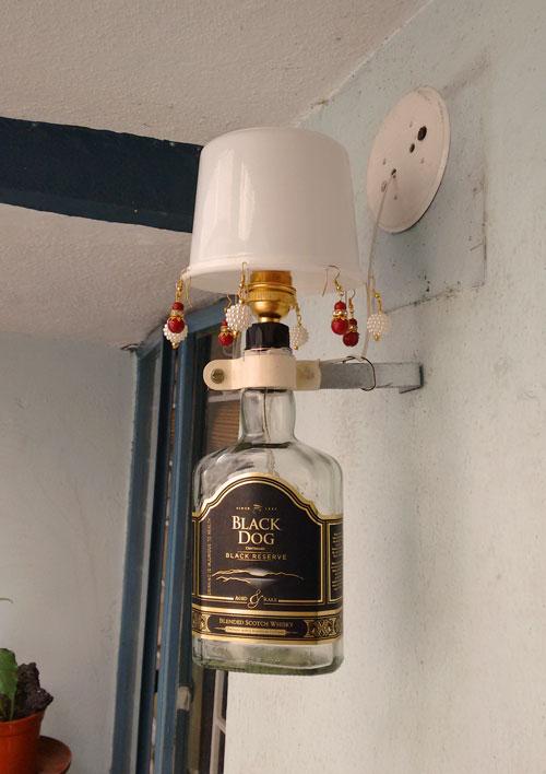 Black Dog Bottle Lamp Decor